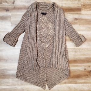 BCBGMAXAZRIA Crocheted Back Cardigan Duster